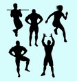 body building and sport action silhouette vector image vector image