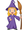 cartoon little witch holding broomstick vector image vector image