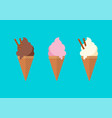 chocolate vanilla and strawberry ice cream in the vector image