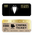 cinema business vip tickets isolated on white vector image vector image