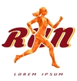 Colorful logotype with running woman vector image vector image