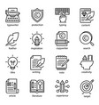 copywriting icon set social media and business vector image