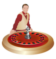 croupier with roulette wheel vector image