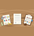 delinquency concept with paperwork with graph and vector image vector image