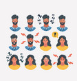 different male and female icons faces vector image vector image