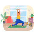 fat woman training with dumbbells at home obese vector image vector image