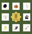 flat icon celebrate set of broom cranium zombie vector image vector image