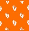 footprints pattern orange vector image vector image