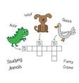 funny animals crossword for children vector image vector image