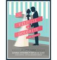Groom and Bride with ribbon wedding invitation vector image