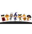 group children in costumes for halloween vector image