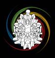 group prayer cartoon graphic vector image vector image