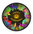 Halloween round town and lantern background vector image vector image