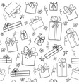 hand drawn sketch gift boxes seamless pattern vector image