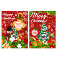 happy holidays snowman and gifts vector image vector image