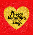 happy valentines day glitter postcard vector image vector image