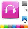 headphones glossy button vector image vector image