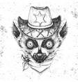 hipster animal lemur hand drawing muzzle vector image vector image