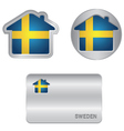 Home icon on the Sweden flag vector image vector image