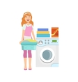 Hotel Professional Maid Doing Laundry vector image vector image