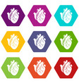 human heart organ icons set 9 vector image vector image