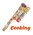 kitchen ax hatchet emblem made cooking utensils vector image vector image