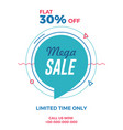 mega sale flyer with geometric flat style vector image vector image