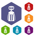 modern corkscrew icons set hexagon vector image vector image