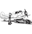 Movie star with retro plane and classic car vector image vector image