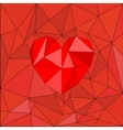 Red heart on red wrapping surface background vector image