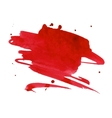 Red watercolor stain with aquarelle paint blotch vector image