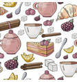 seamless pattern with different tea and cakes vector image vector image