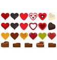 set different types beautiful red hearts for vector image