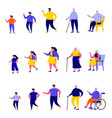 set flat people different generations vector image