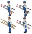 set of handyman with ladder vector image vector image