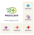 set of medical tech logo design concept colorful vector image