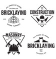 set of vintage construction and bricklaying labels vector image vector image