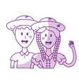 silhouette cute brazilian couple with hat and vector image vector image
