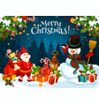 snowman and dwarf with christmas gifts vector image