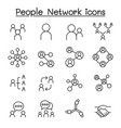 social network people network icon set in thin vector image