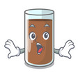surprised fresh chocolate splash on pouring mascot vector image vector image