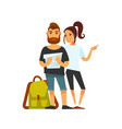 tourist couple with travelling backpack looks on vector image