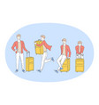 travelling with luggage journey and vacations vector image vector image