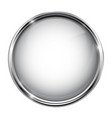 white glass button round 3d shiny icon with metal vector image vector image