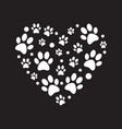 white paw prints in heart shape minimal vector image vector image