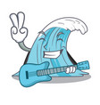 with guitar cartoon blue wave surf vector image