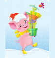 yellow earth pig with gift boxes vector image vector image