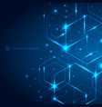 abstract hexagons with laser light on dark blue vector image vector image