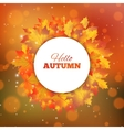 Autumn background with leaves Hello autumn card vector image