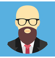 Bald Man with Beard and Glasses Icon vector image